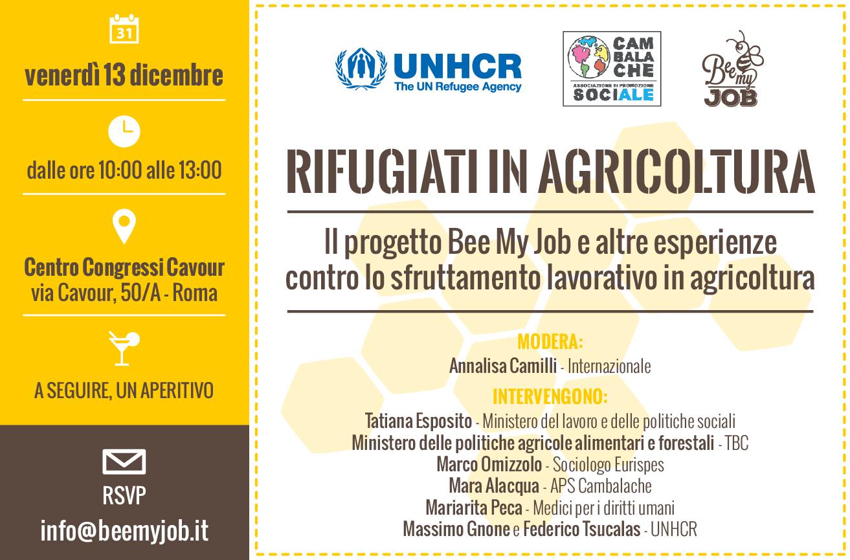 Rifugiati in agricoltura. Bee My Job e altre esperienze contro lo sfruttamento lavorativo – Roma 13 dicembre